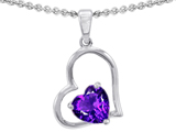 Star K™ 7mm Heart Shape Simulated Amethyst Pendant Necklace style: 305537