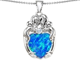 Star K™ Large Loving Mother Twins Family Pendant Necklace With 12mm Heart Shape Blue Created Opal style: 305540
