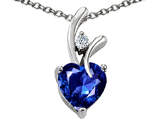 Star K™ Heart Shape Created Blue Sapphire Pendant Necklace with Chain style: 305555
