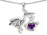 Star K™ Baby Stork Mother Pendant Necklace with Genuine Heart Amethyst style: 305563