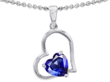 Star K™ 7mm Heart Shape Created Blue Sapphire Pendant Necklace style: 305581
