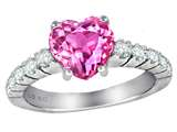Star K™ 8mm Heart Shape Created Pink Sapphire Ring style: 305583