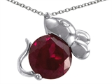 Star K™ Mouse Pendant Necklace With Round Created Ruby style: 305592