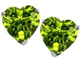 Star K™ Heart Shape Genuine Peridot Earrings Studs style: 305596