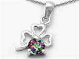 Celtic Love by Kelly Round Genuine Mystic Topaz Lucky Clover Pendant Necklace style: 305599