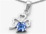 Celtic Love by Kelly Round Simulated Aquamarine Lucky Clover Pendant Necklace style: 305600