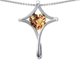 Star K™ Large Christian Cross Of Love Pendant Necklace With Simulated Imperial Yellow Topaz style: 305605