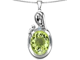 Original Star K™ Loving Mother With Child Family Pendant With Oval 11x9mm Simulated Peridot style: 305608