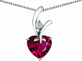 Star K™ Heart Shape 8mm Created Ruby Pendant Necklace style: 305612