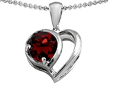 Star K™ Heart Shape Pendant Necklace With Round 7mm Simulated Garnet style: 305617