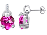 Star K™ Heart Shape Created Pink Sapphire Designer Hanging Drop Earrings style: 305648