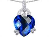 Star K™ Large Heart Shape 13mm Created Sapphire Designer Pendant Necklace style: 305656