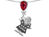 Star K™ Girl Holding a Balloon Mother July Birth Month Pear Shape Created Ruby Pendant Necklace style: 305659