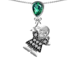 Star K™ Girl Holding a Balloon Mother May Birth Month Pear Shape Simulated Emerald Pendant Necklace style: 305660
