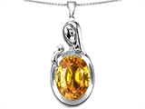 Star K™ Loving Mother With Child Family Pendant Necklace With Oval 11x9mm Simulated Citrine style: 305665