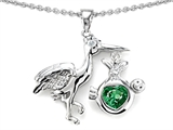 Star K™ Baby Stork Mother Pendant Necklace with Heart Shape 8mm Simulated Emerald style: 305666