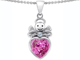 Star K™ Love Angel Pendant Necklace with 10mm Created Pink Sapphire Heart style: 305670