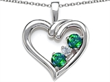 Star K™ Open Heart 3 Stone Pendant Necklace with Simulated Emerald style: 305698