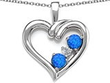 Star K™ Open Heart 3 Stone Pendant Necklace with Blue Created Opal style: 305704