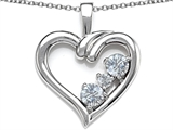 Star K™ Open Heart 3 Stone Pendant Necklace with Genuine White Topaz style: 305707