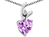 Star K™ 8mm Heart Shape Genuine Rose De France Amethyst Pendant Necklace style: 305732