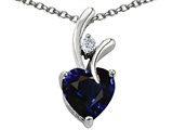 Star K™ Heart Shape 8mm Dark Blue Created Sapphire Pendant Necklace style: 305757
