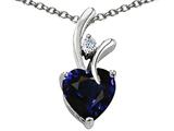 Original Star K™ Heart Shape 8mm Dark Blue Created Sapphire Pendant style: 305757