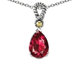 Star K™ 11x8mm Pear Shape Created Ruby Pendant Necklace style: 305778