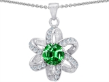 Original Star K™ Round 7mm Simulated Emerald Flower Pendant style: 305779
