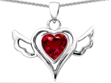 Star K™ Wings Of Love Pendant Necklace with Created Heart Ruby style: 305781