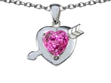 Star K™ Heart with Arrow Love Pendant Necklace with Heart Shape 8mm Created Pink Sapphire style: 305784