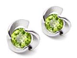 Original Star K™ Round Genuine Peridot Flower Earrings Studs style: 305785