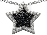 Star K™ Cubic Zirconia Black and White Star Pendant Necklace style: 305805