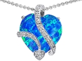 Star K™ Large 15mm Heart Shape Blue Simulated Opal Love Pendant Necklace style: 305825