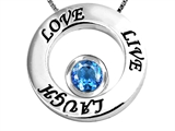 Star K™ Live/Love/Laugh Circle of Life Pendant Necklace with December Birth Month Round 7mm Simulated Blue Topa style: 305827