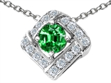 Star K™ Round Simulated Emerald Pendant Necklace style: 305830