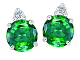 Star K™ Round 7mm Simulated Emerald Earrings Studs style: 305856