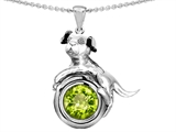 Original Star K™ Dog Lover Pendant with August Birth Month Round 7mm Simulated Peridot style: 305885