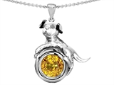 Star K™ Dog Lover Pendant Necklace with November Birth Month Round 7mm Simulated Citrine style: 305909
