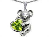 Star K™ Love Bear Hugging Birthstone of August 8mm Heart Shape Simulated Peridot style: 305910