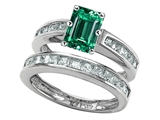 Star K™ Emerald Cut Simulated Emerald Wedding Set style: 305924