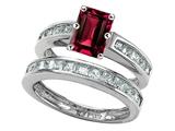 Original Star K™ Emerald Cut Created Ruby Wedding Set style: 305927