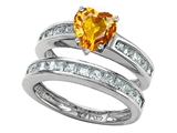 Star K™ Heart Shape Genuine Citrine Wedding Set style: 305939