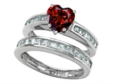 Star K™ Heart Shape Genuine Garnet Wedding Set style: 305940