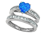Star K™ Heart Shape Simulated Blue Opal Wedding Set style: 305942