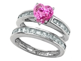 Star K™ Heart Shape Created Pink Sapphire Wedding Set style: 305944