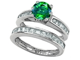 Star K™ Round Simulated Emerald Wedding Set style: 305959