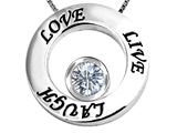 Star K™ Live/Love/Laugh Circle of Life Pendant Necklace with Birth Month White Topaz style: 305970
