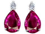 Star K™ Pear Shape 8x6 mm Created Pink Sapphire Earrings Studs style: 305977