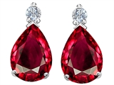 Star K™ Pear Shape 8x6 mm Created Ruby Earrings Studs style: 305978